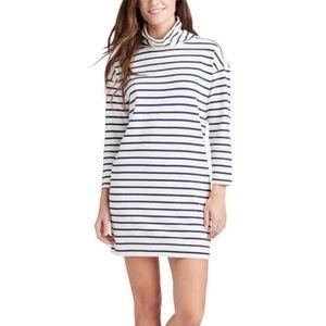 Vinyard Vines Striped Funnel Neck Blue White Dress